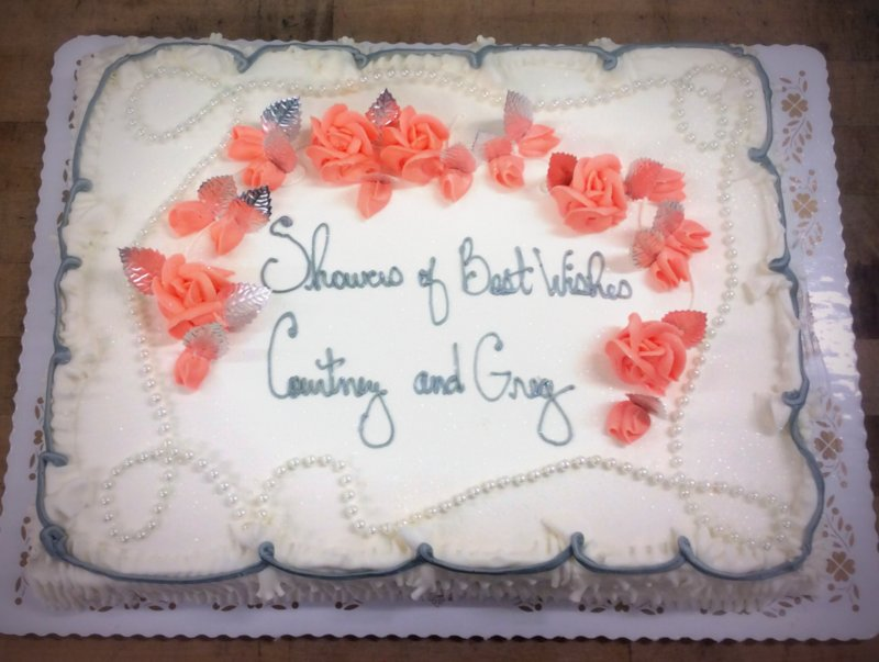 Silver and Coral Bridal Shower Sheet Cake