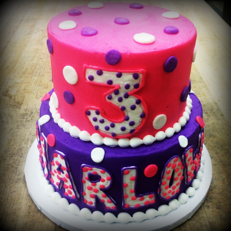 Pink and Purple Party Cake with Polka Dots