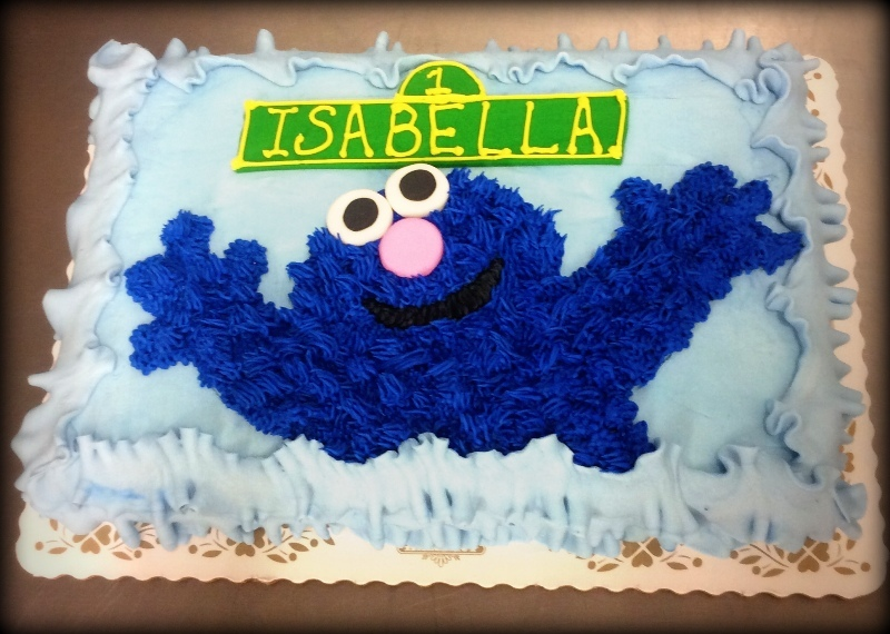 Cookie Monster on Blue Sheet Cake