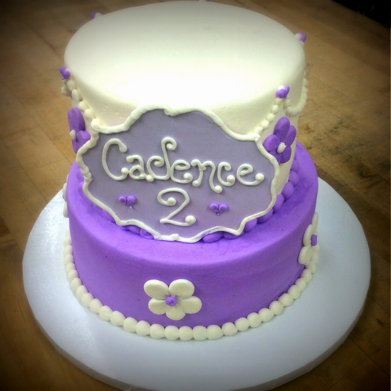 Purple Party Cake with Plaque