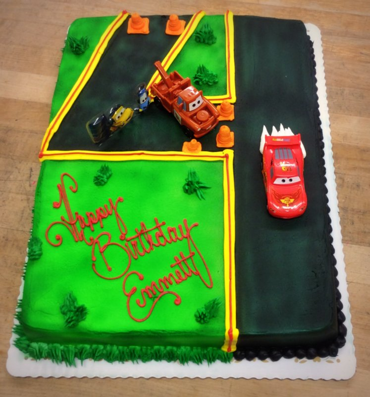 Cars the Movie Sheet Cake with Number Shaped Road