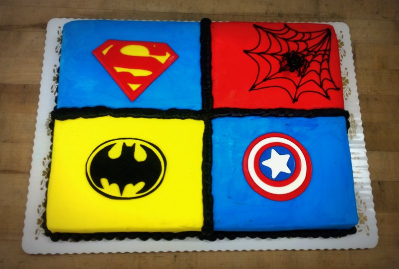 Sheet Cake with Four Super Heroes