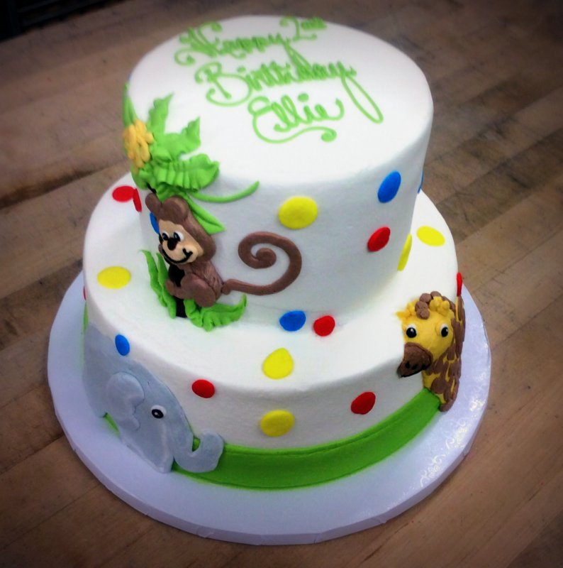 Party Cake with Polka Dots and Piped Animals