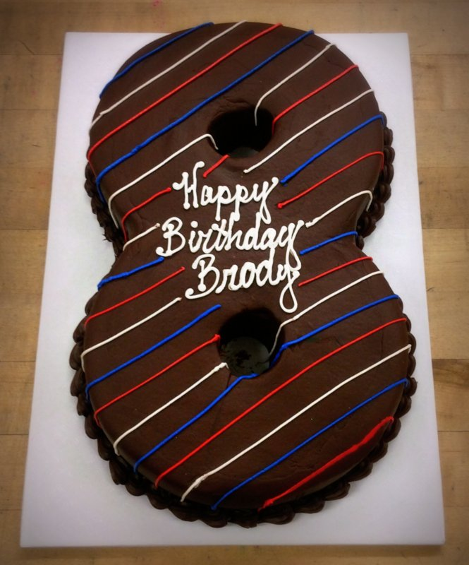 Chocolate Number Shaped Cake with Stripes