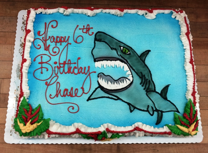 Sheet Cake with a Piped Shark