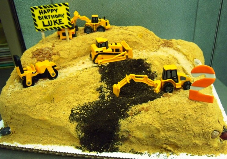 Carved Cake with Construction Vehicles