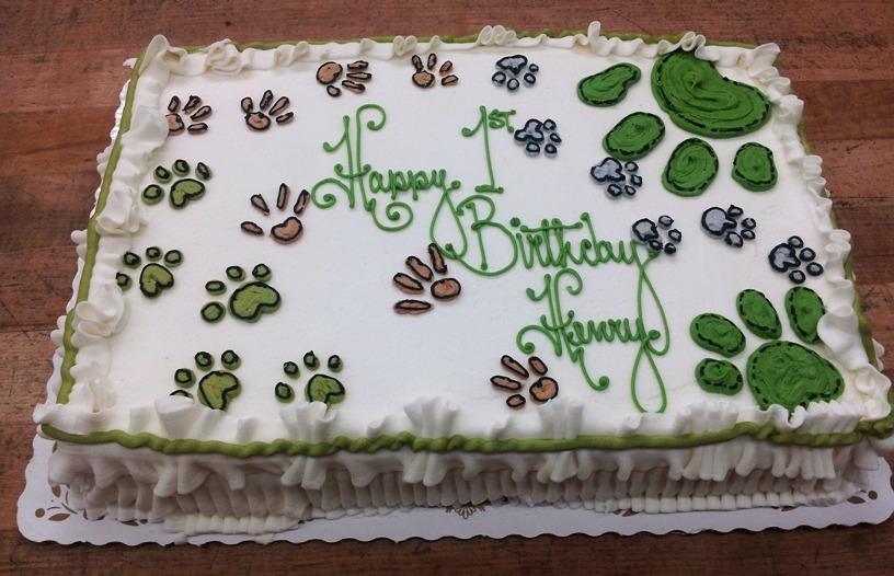 Sheet Cake with Puppy Prints