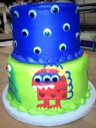 Monster Party Cake with Googly Eyes