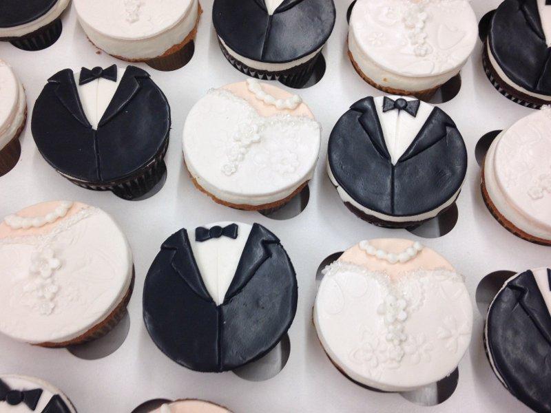 Wedding Dress and Tux Cupcakes