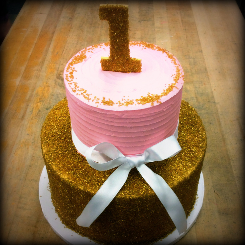 Pink and Gold First Birthday Cake