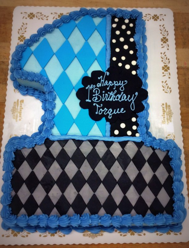 Number Shaped Cake with Blue and Grey Diamonds