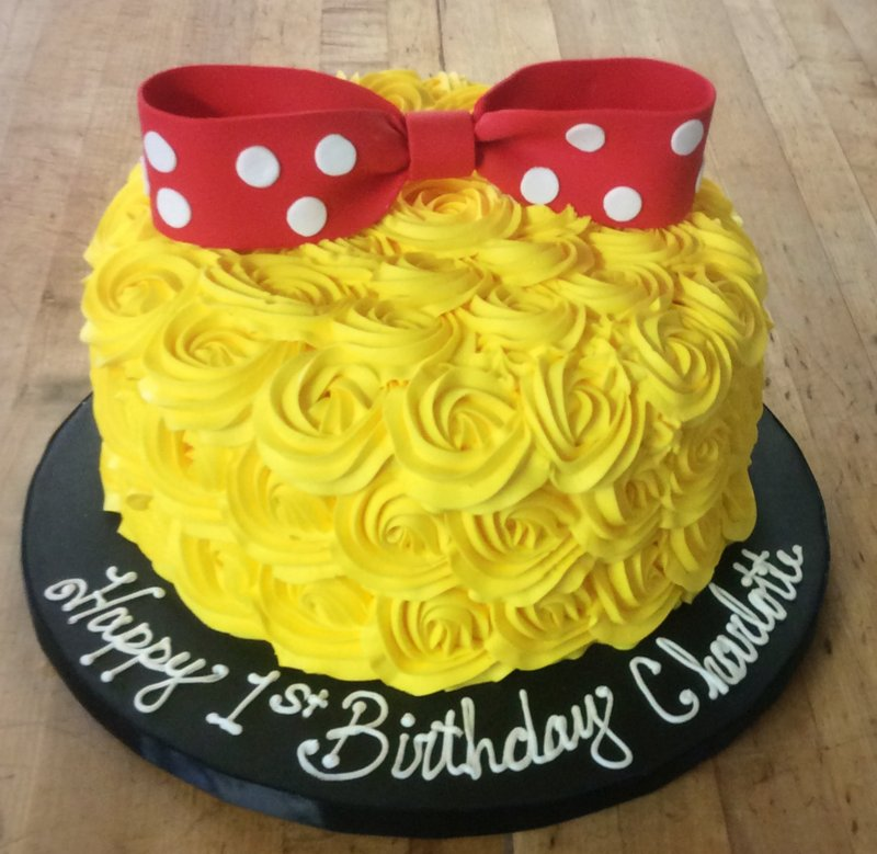 Yellow Rosette Cake with Red Bow