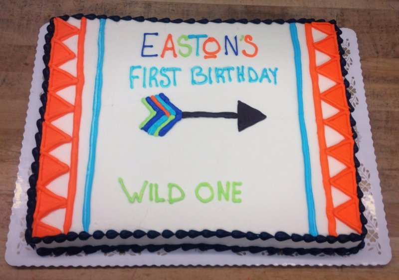 First Birthday Sheet Cake with Arrow Decoration