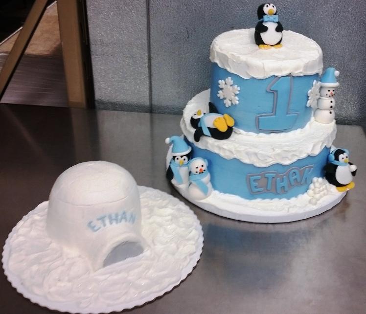 Snowy Party Cake with Igloo Smash Cake