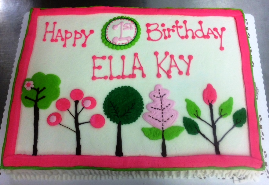 Pink and Green First Birthday Sheet Cake
