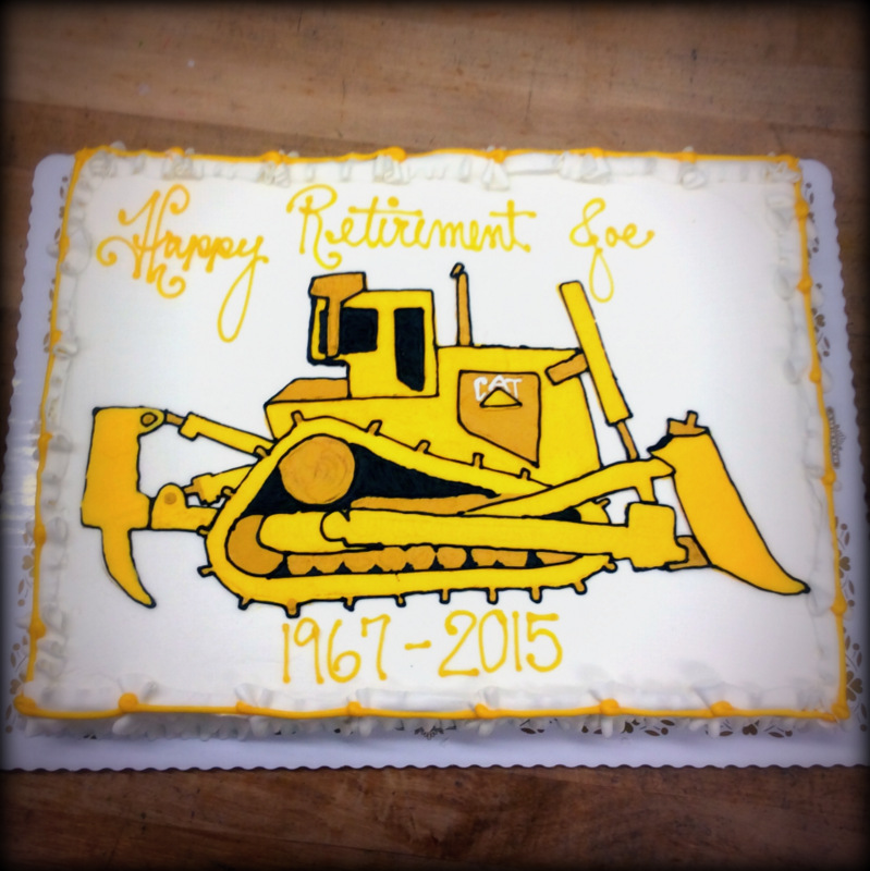 Sheet Cake with Piped Cat Tractor
