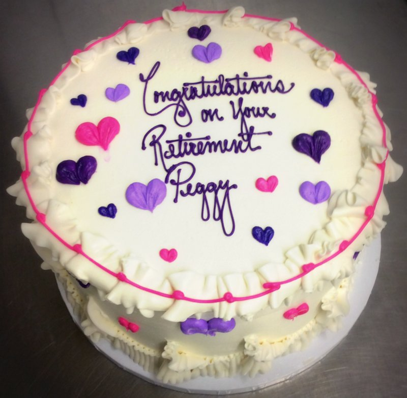 Round Cake with Pink and Purple Hearts