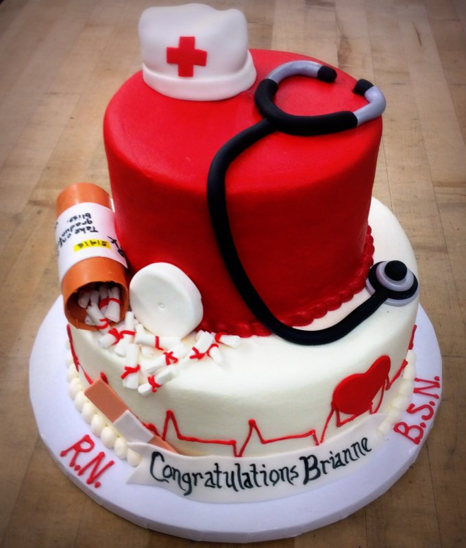 Party Cake with Nurse Decorations