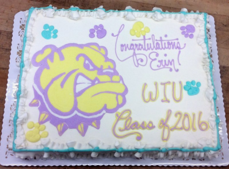 Graduation Sheet Cake with Piped Bulldog