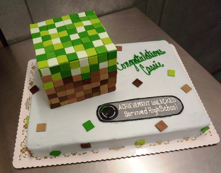 Sheet Cake with Minecraft Cube