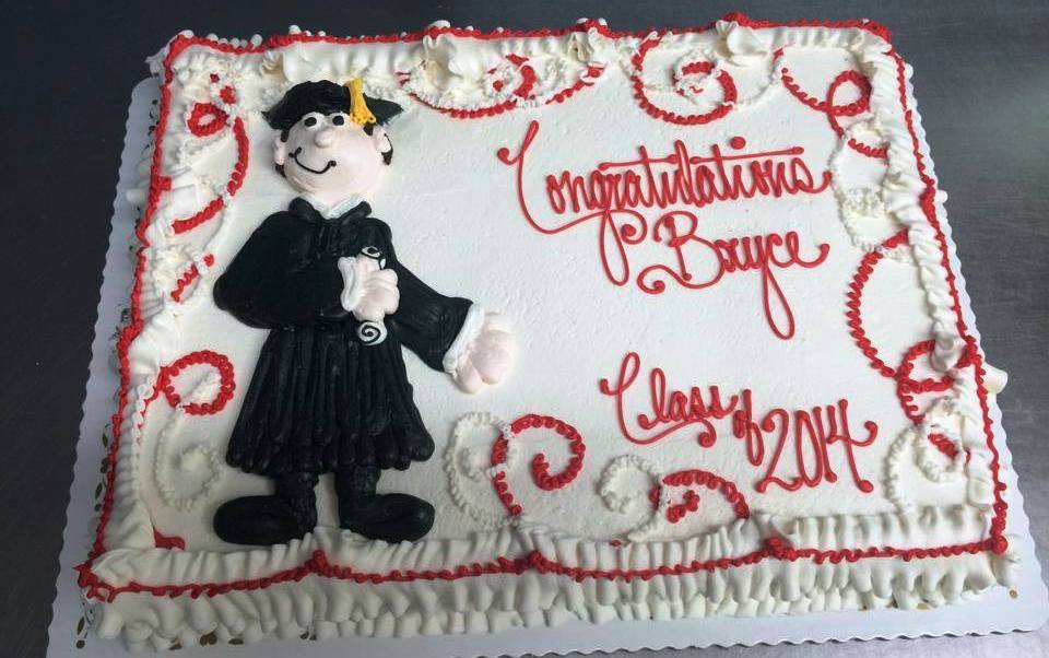 Graduation Sheet Cake with Piped Graduate
