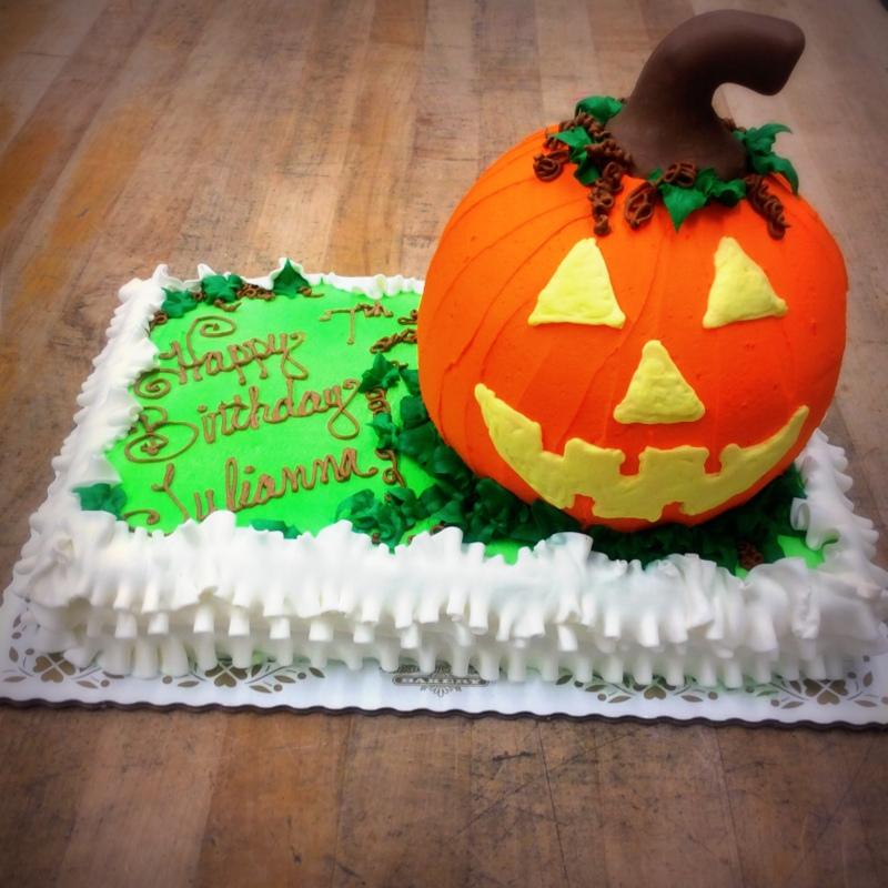 Halloween Sheet Cake with Jack-O-Lantern Shaped Cake