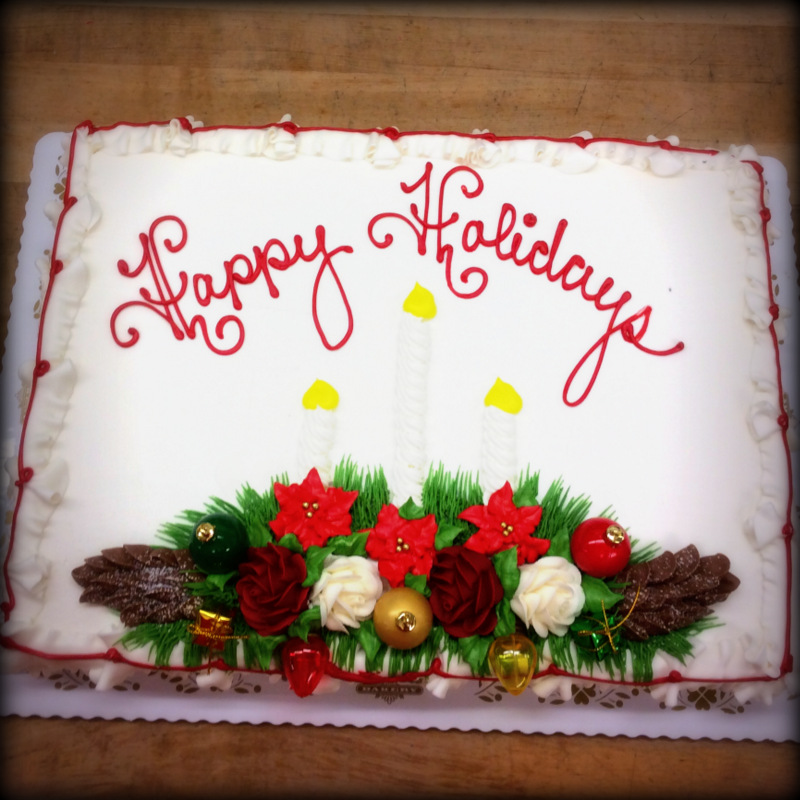 Christmas Sheet Cake with Three Candles