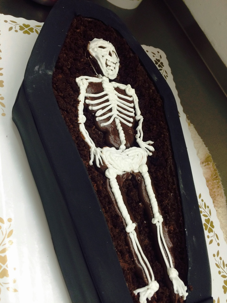 Halloween Skeleton in a Coffin Shaped Cake