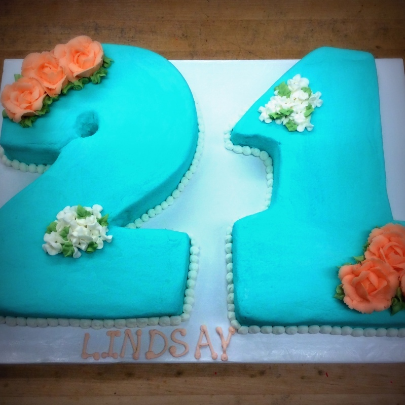 Blue Shaped Number Cake with Flowers