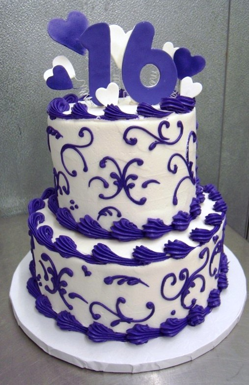 Sweet 16 Party Cake with Purple Scroll