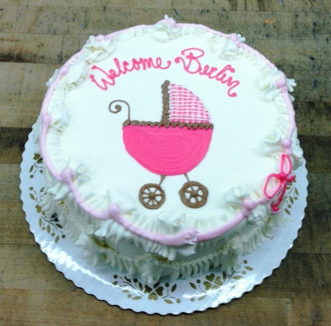 Pink Baby Buggy Round Cake