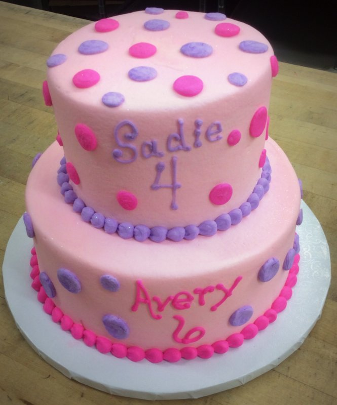 Pink and Purple Polka Dot Party Cake