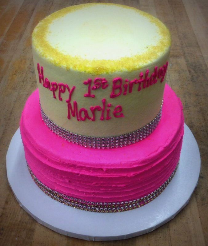 Gold and Pink Blingy First Birthday Cake
