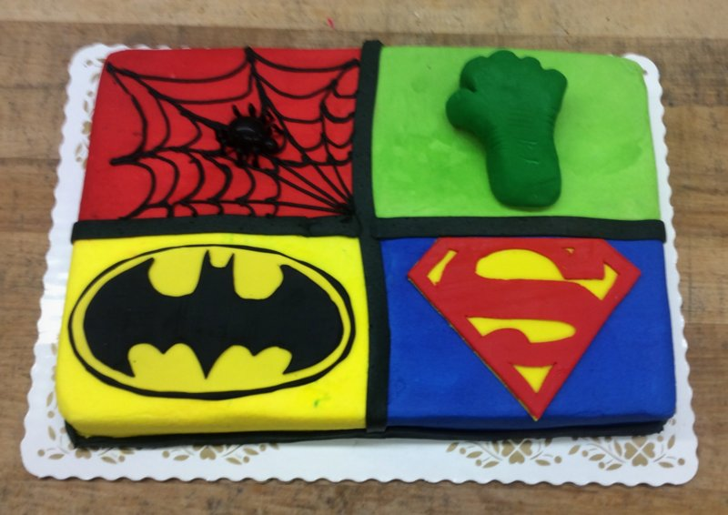Four SuperHeroes Sheet Cake