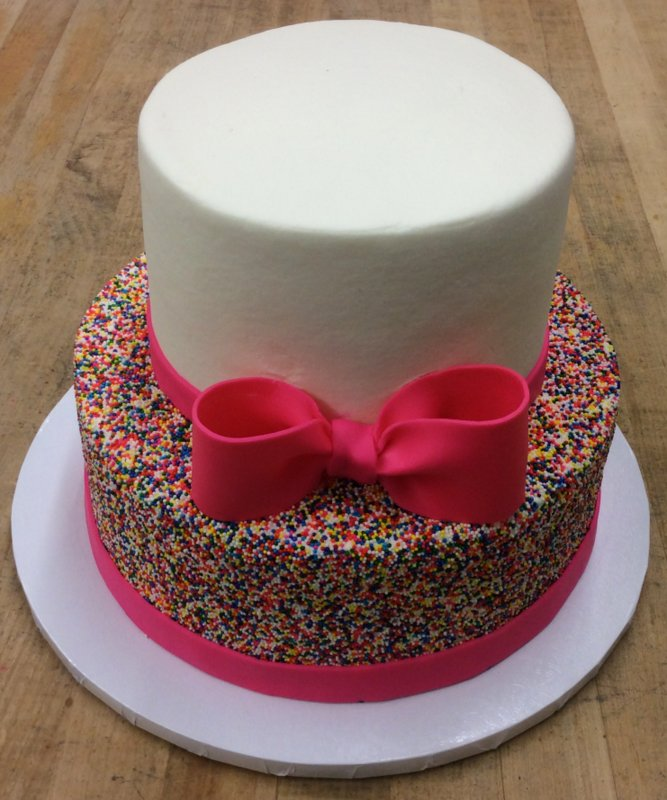 Party Cake with Sprinkle Sides and Fondant Bow