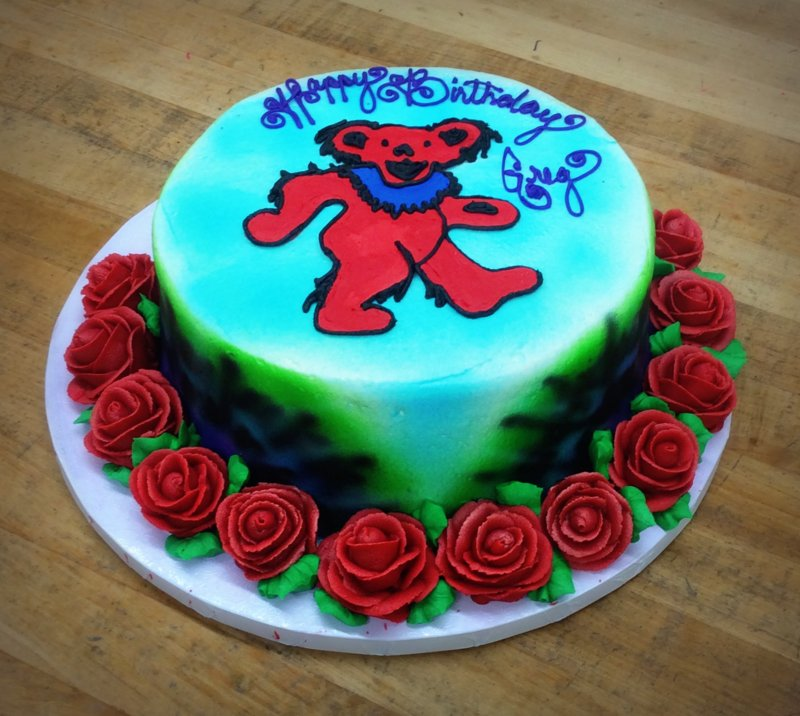 Round Cake with Grateful Dead Bear