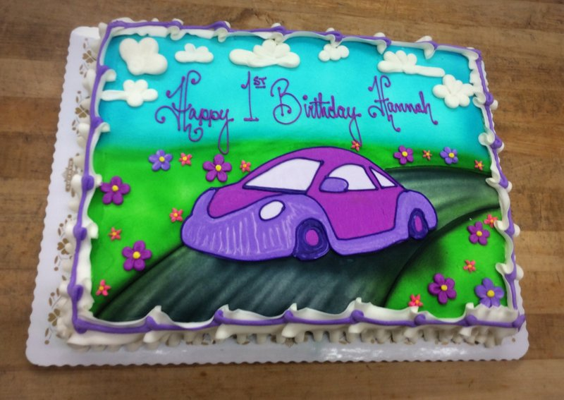 Sheet Cake with Piped Purple Car
