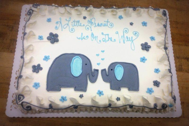 Blue and Gray Elephants Sheet Cake