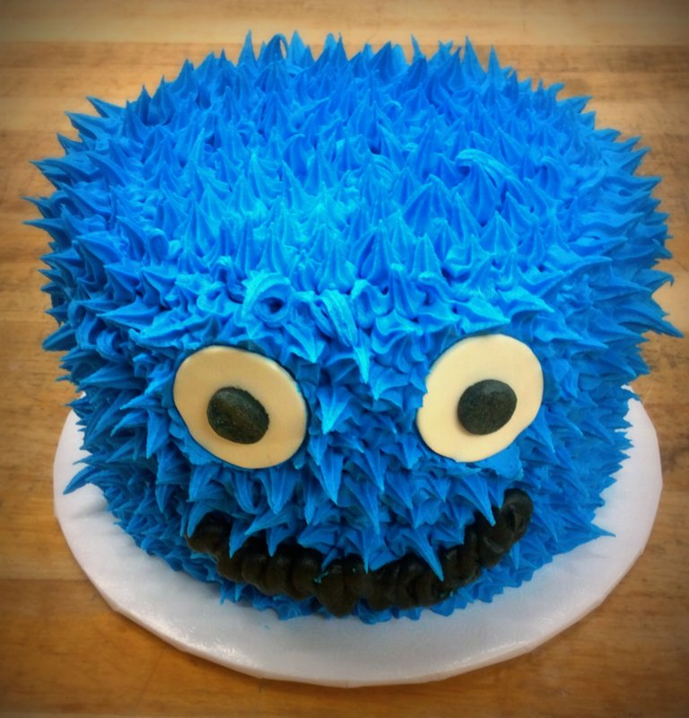 Round Blue Monster Cake
