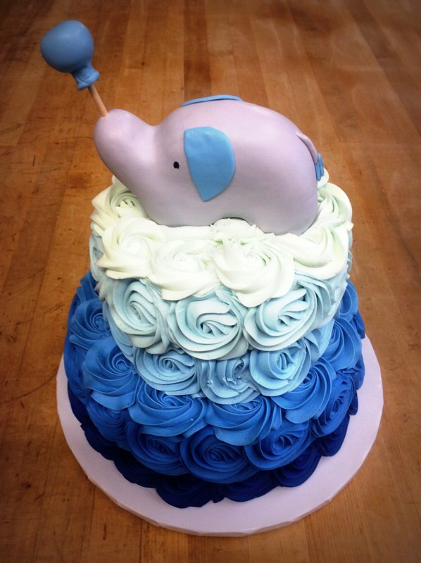 Party Cake with Elephant Topper