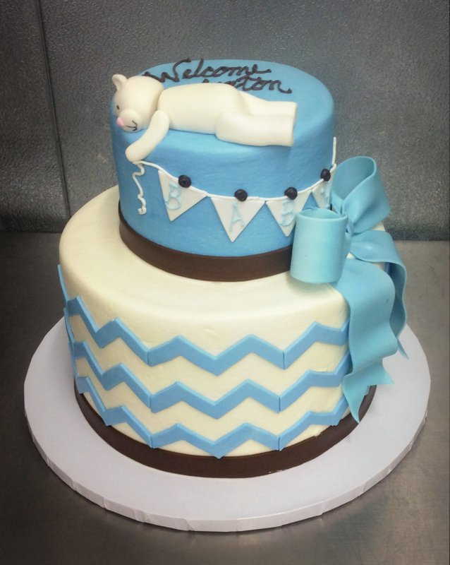 Baby Shower Party Cake with Fondant Bear