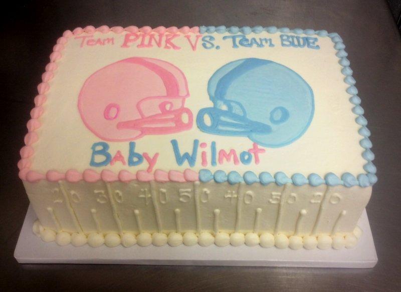 Football Themed Gender Reveal Cake