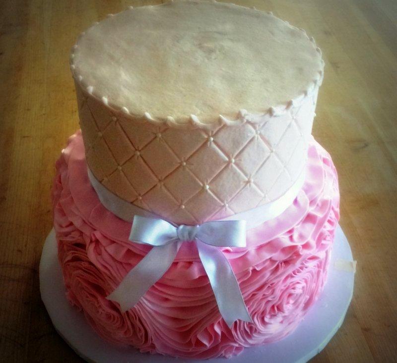 Pink Fondant Ruffle Party Cake