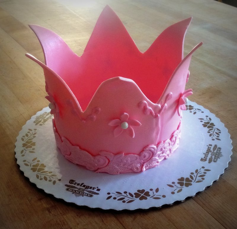 Pink Fondant Crown Topper