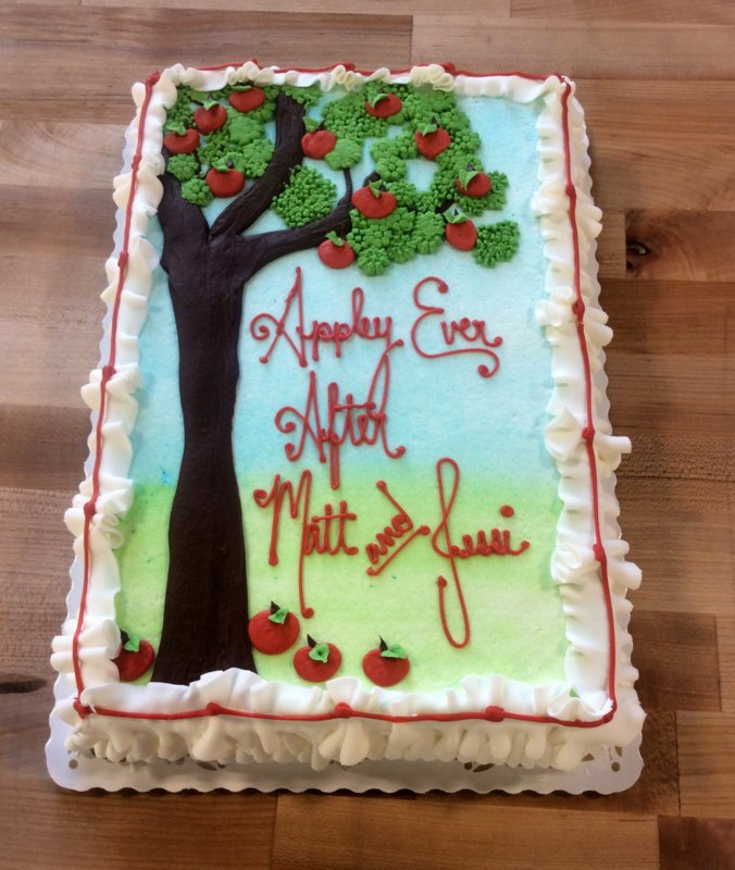 Sheet Cake with Piped Apple Tree Decoration