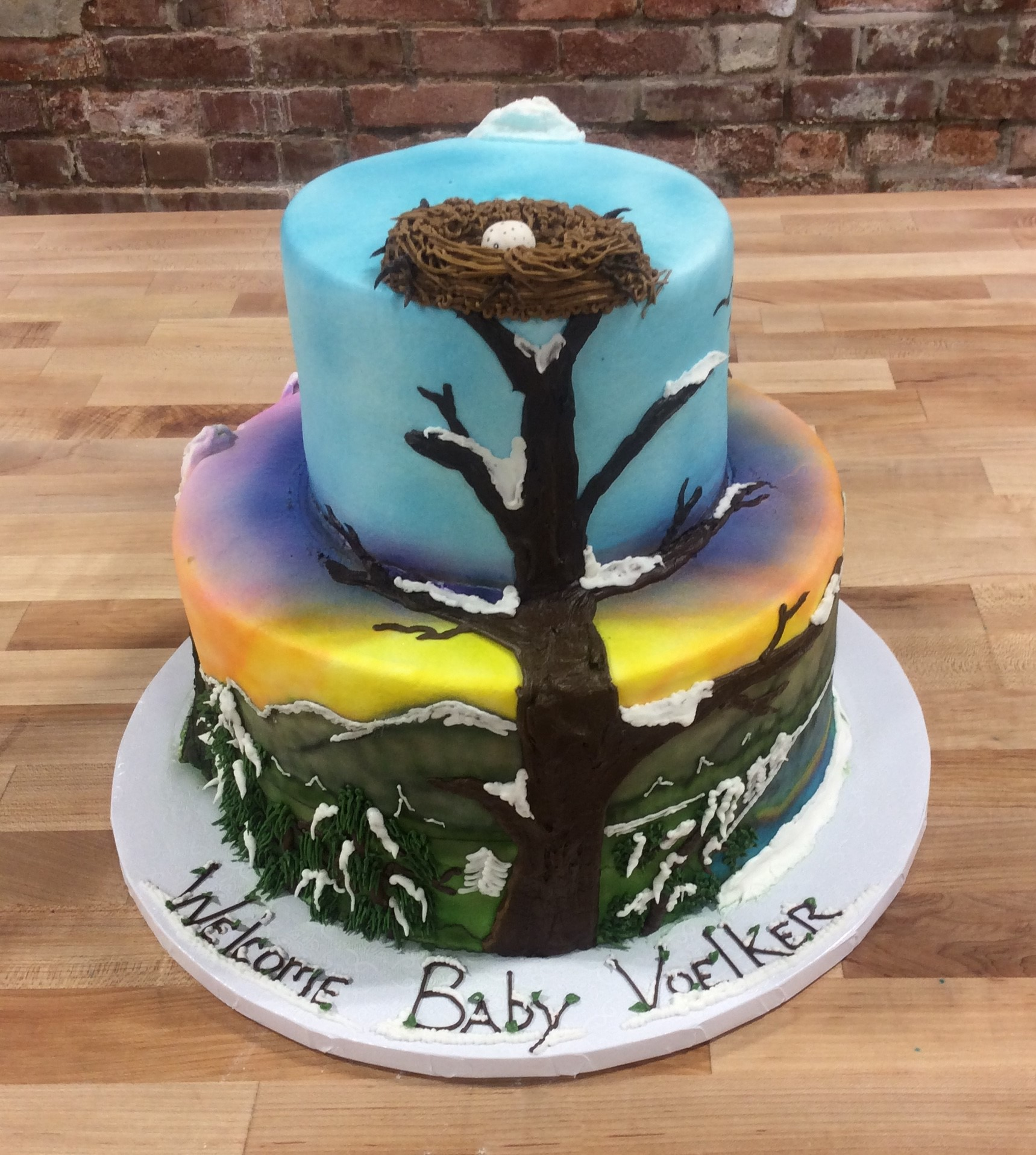 Baby Shower Party Cake with Tree and Nest