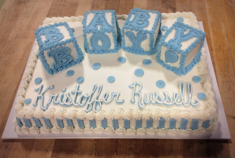 Baby Shower Sheet Cake with 3D Blocks