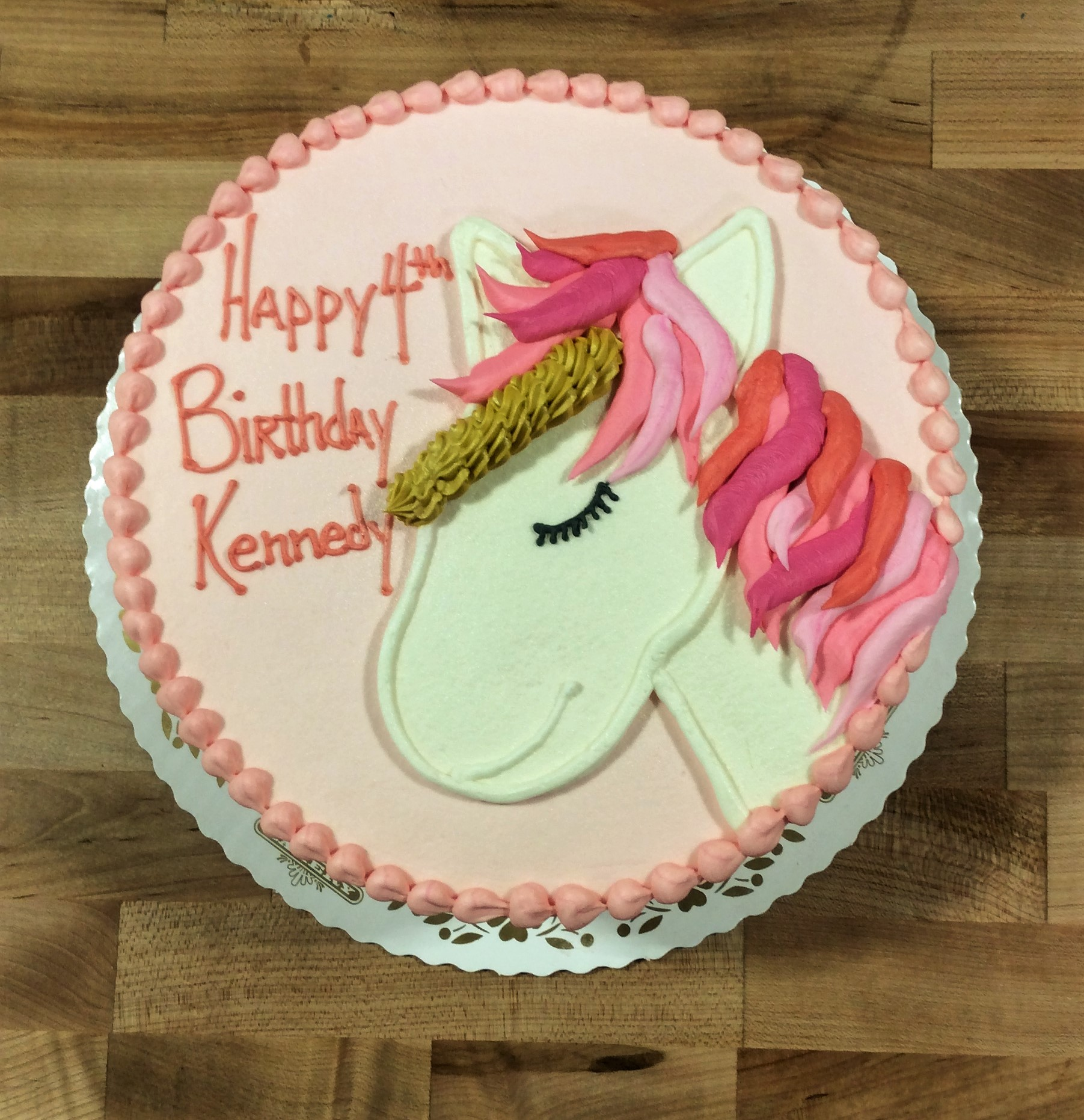 Pink Round Cake with Piped Unicorn