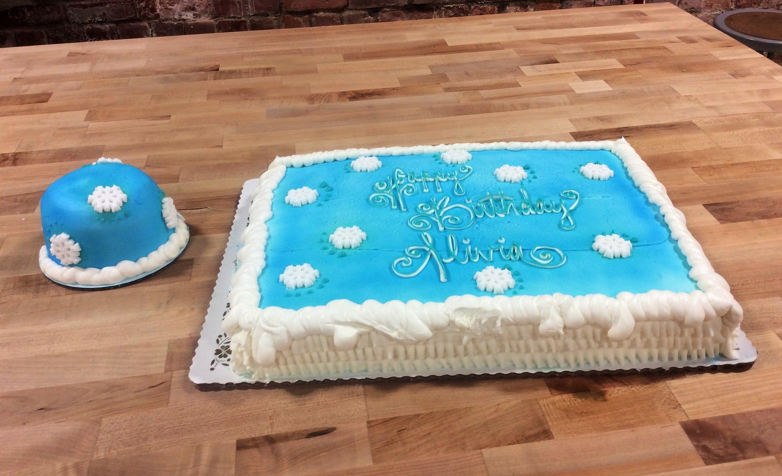 Winter Themed Sheet Cake and Smash Cake