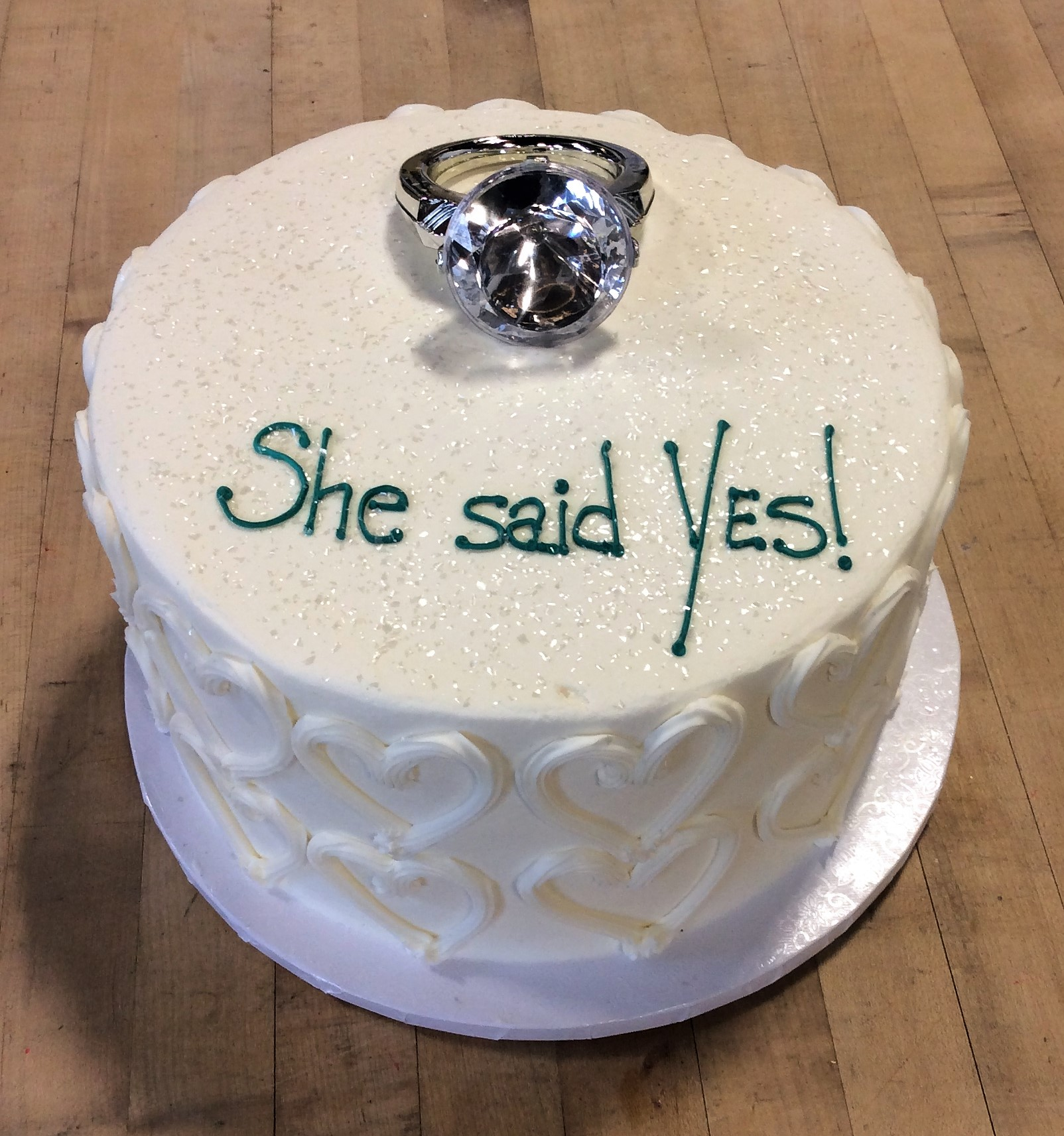 Engagement Cake with Large Ring